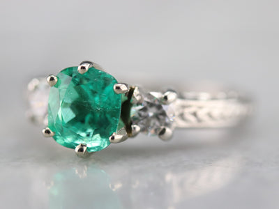 Engraved Emerald and Diamond Ring