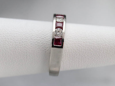Platinum Diamond and Synthetic Ruby Band