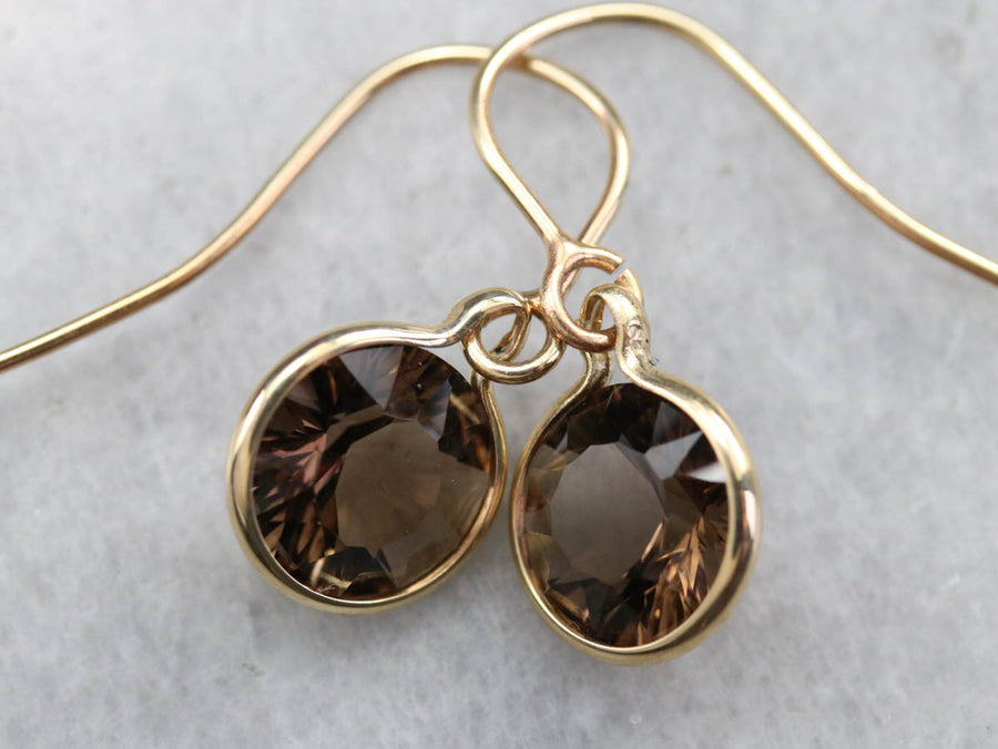 Gold Smokey Quartz Drop Earrings