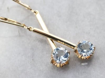 Yellow Gold Aquamarine Drop Earrings