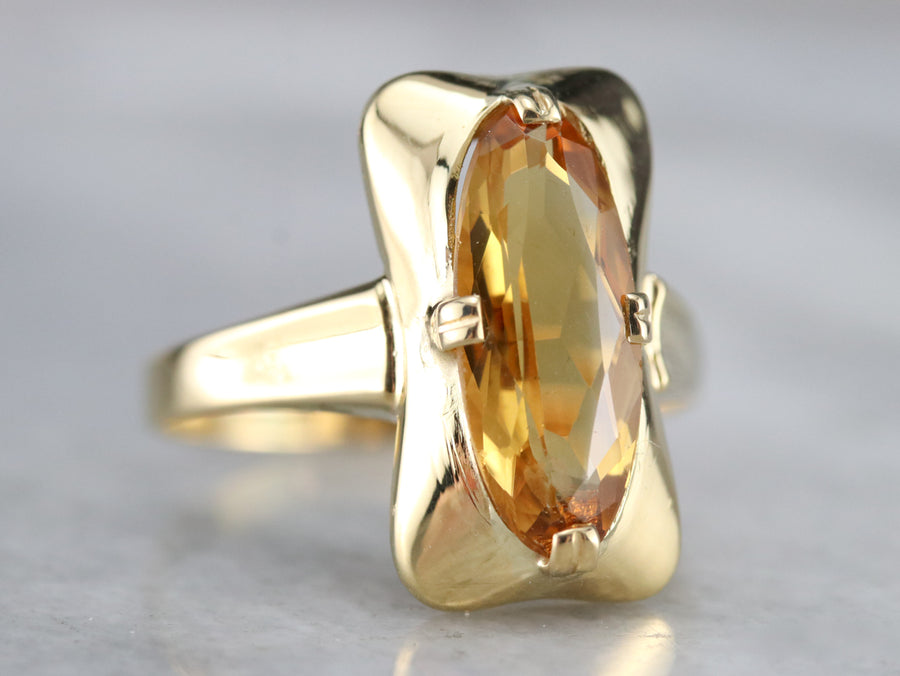 Mid Century Citrine Cocktail Ring