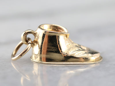 Gold Baby Shoe Charm or Pendant