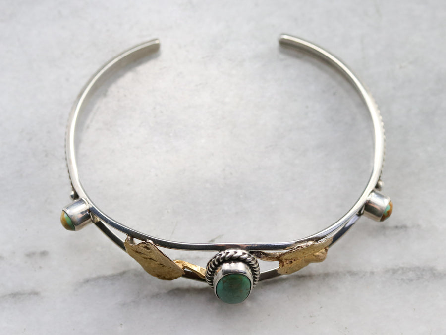Mixed Metal Turquoise Cuff Bracelet