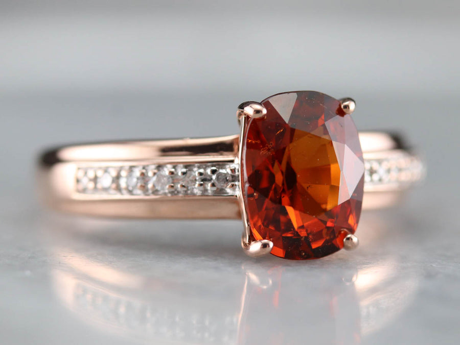 Rose Gold Hessonite Garnet and Diamond Ring