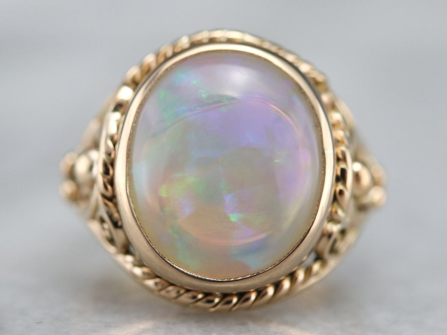 Mid Century Opal Cocktail Ring