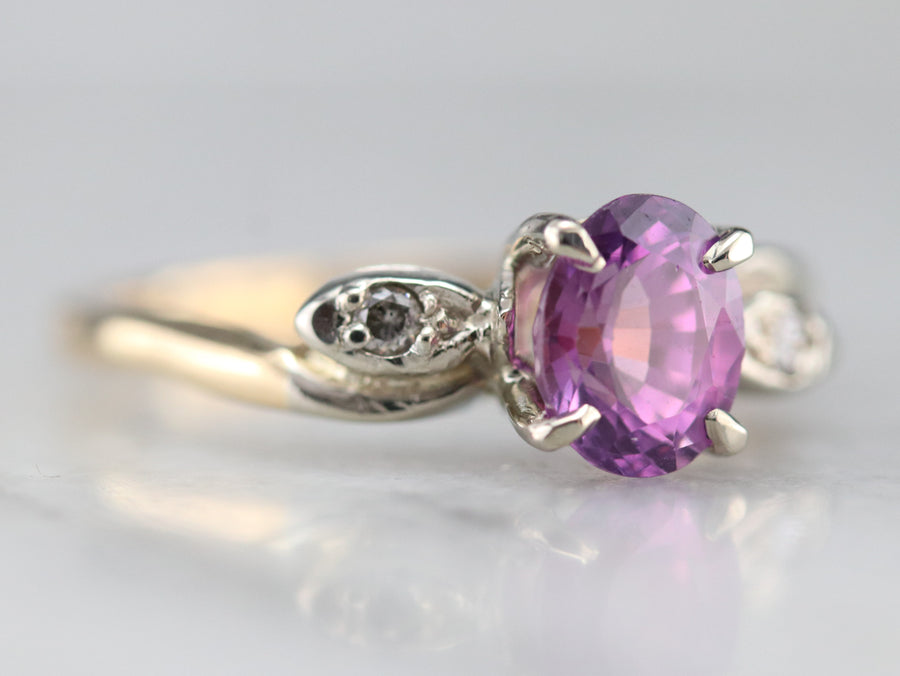 Retro Era Pink Sapphire and Diamond Ring