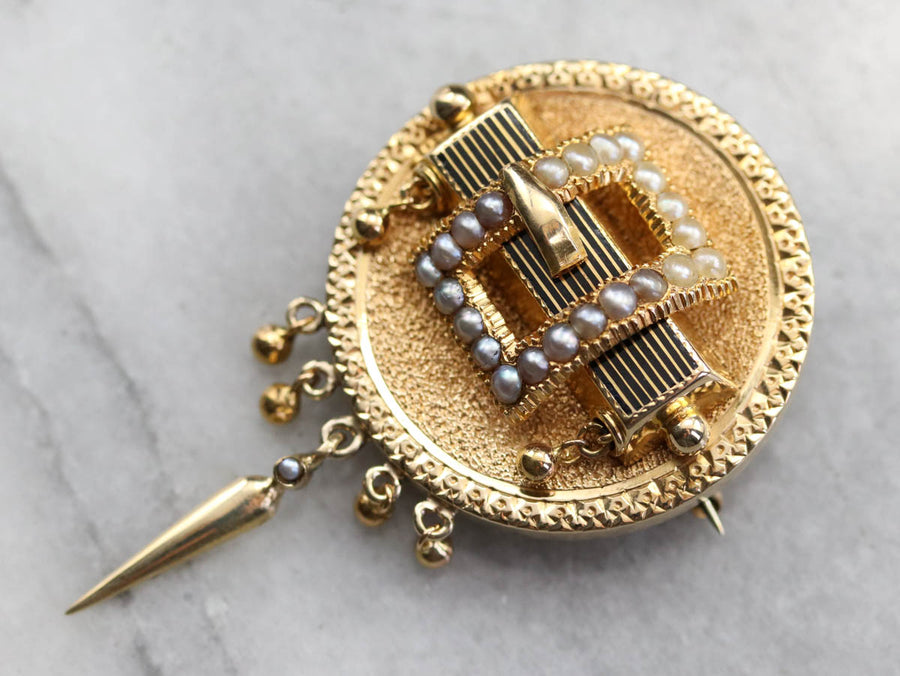 Seed Pearl Gold Medallion Brooch