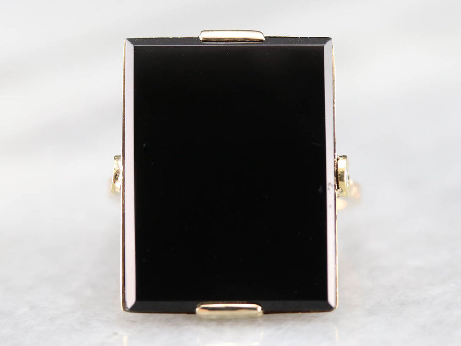 RESERVED Black Onyx Gold Statement Ring