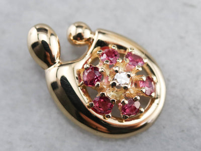 Mother and Child Ruby Diamond Pendant