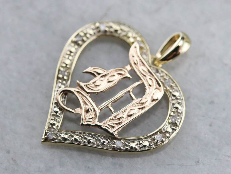 """D"" Monogram Diamond Heart Pendant"