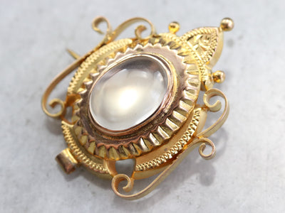 Art Nouveau Moonstone Brooch