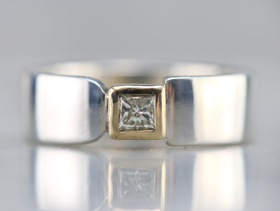Geometric Mixed Metal Diamond Solitaire