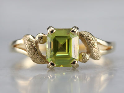 Sphene Gold Solitaire Ring