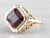 Two Tone Gold Grape Garnet Solitaire Ring