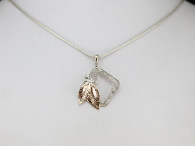 Filigree Botanical Frame Gold Pendant