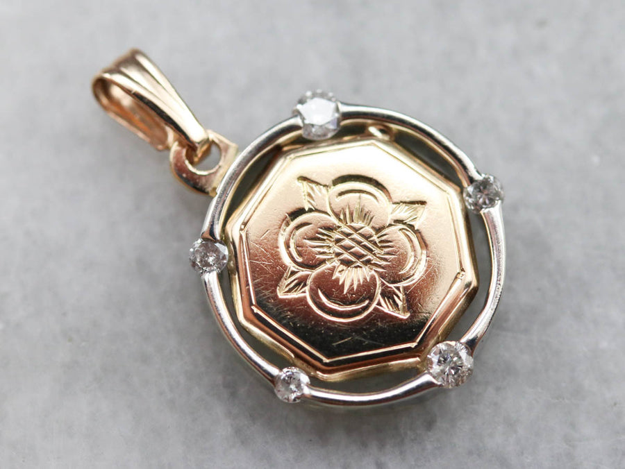 Floral Diamond Gold Medal Pendant