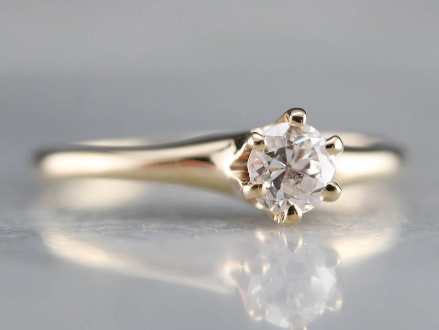 European Cut Diamond Solitaire Engagement Ring