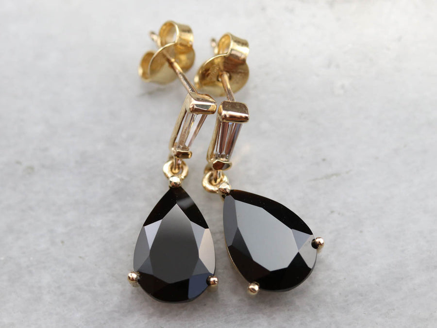Sardonyx Diamond Gold Drop Earrings