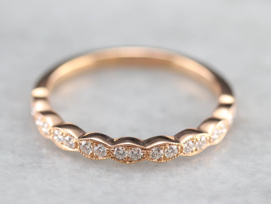 Scalloped Diamond Rose Gold Wedding Band