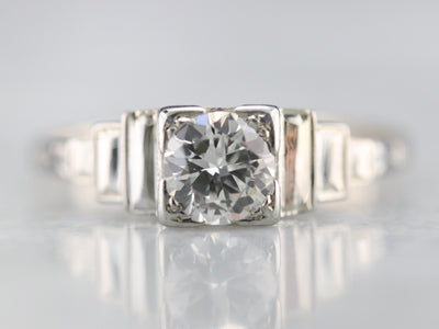 Late Deco Transition Cut Diamond Ring