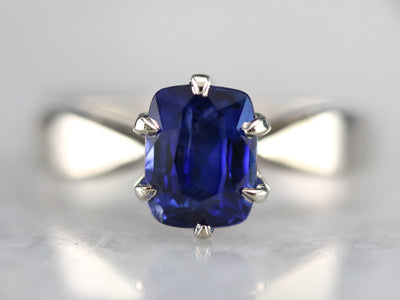 Sapphire White Gold Solitaire Engagement Ring