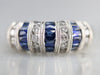 Sapphire Diamond White Gold Cocktail Band