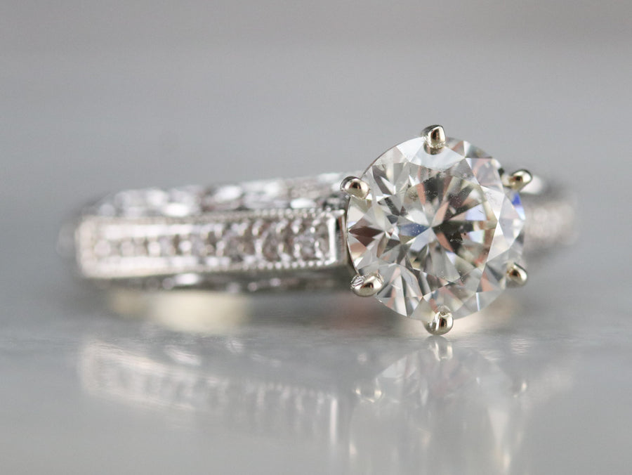 Modern Round Brilliant Diamond Ring