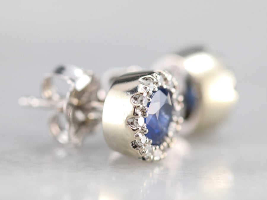 Sapphire and Diamond Halo Stud Earrings