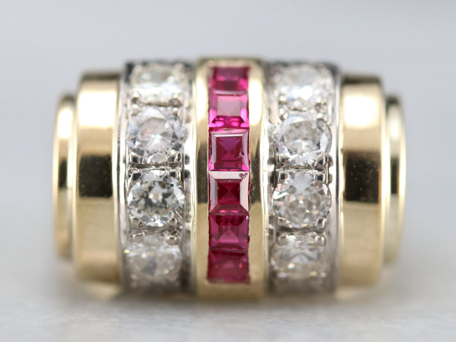 Vintage Synthetic Ruby Diamond Cocktail Band
