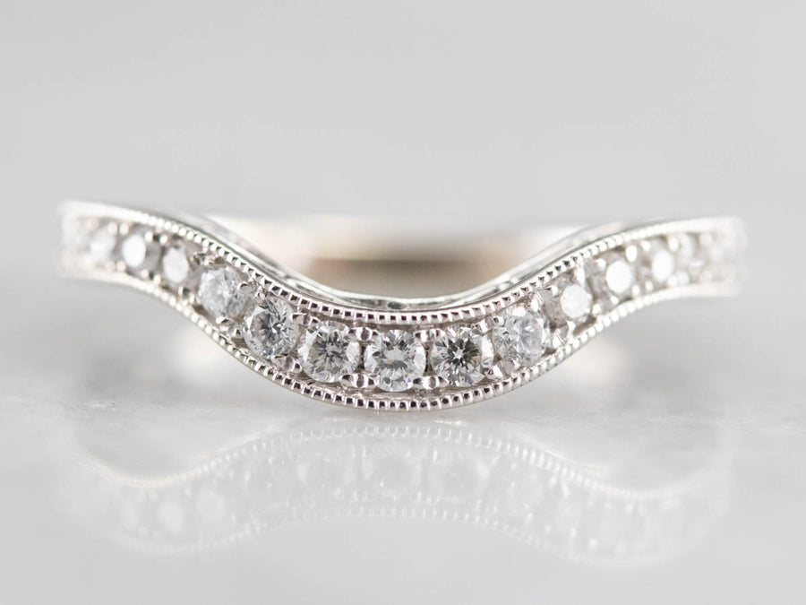 White Gold Diamond Contour Band