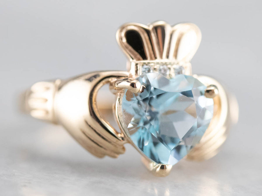 Blue Topaz and Diamond Claddagh Ring