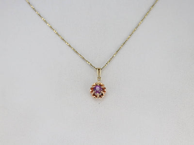 Floral Pink Sapphire Solitaire Pendant
