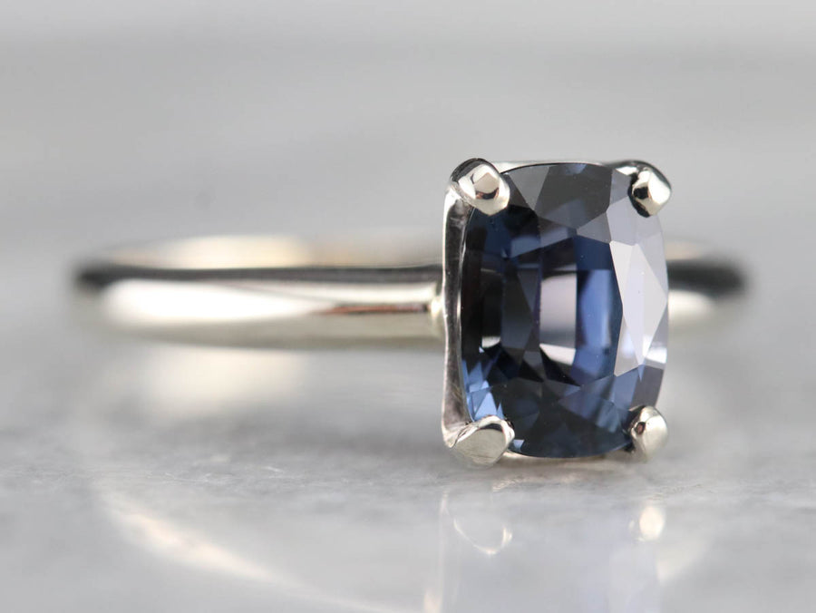 White Gold Sapphire Solitaire Ring