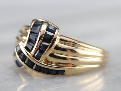 Vintage Sapphire Knot and Gold Band