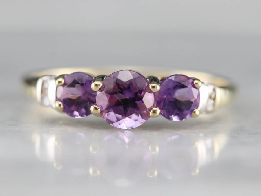 Sweet Amethyst and Diamond Ring