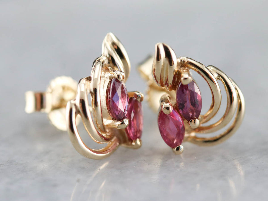 Gold Marquise Ruby Stud Earrings