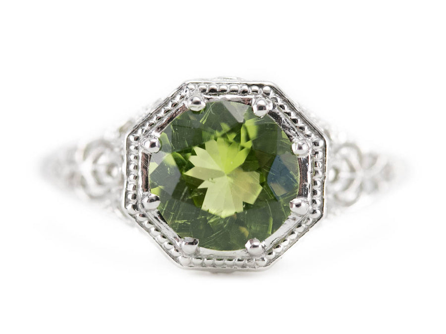 Peridot Platinum Ring in the Winthrop Setting by Elizabeth Henry