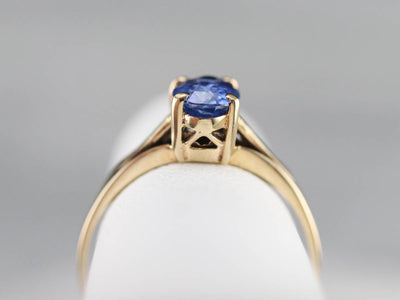 Yellow Gold Sapphire Solitaire Ring