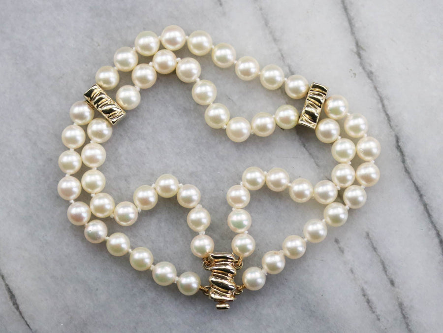 Double Strand Pearl Beaded Bracelet