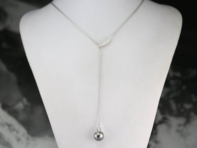 Tahitian Pearl White Gold Lariat Necklace