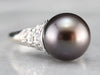 Black Tahitian Pearl and Diamond Cocktail Ring