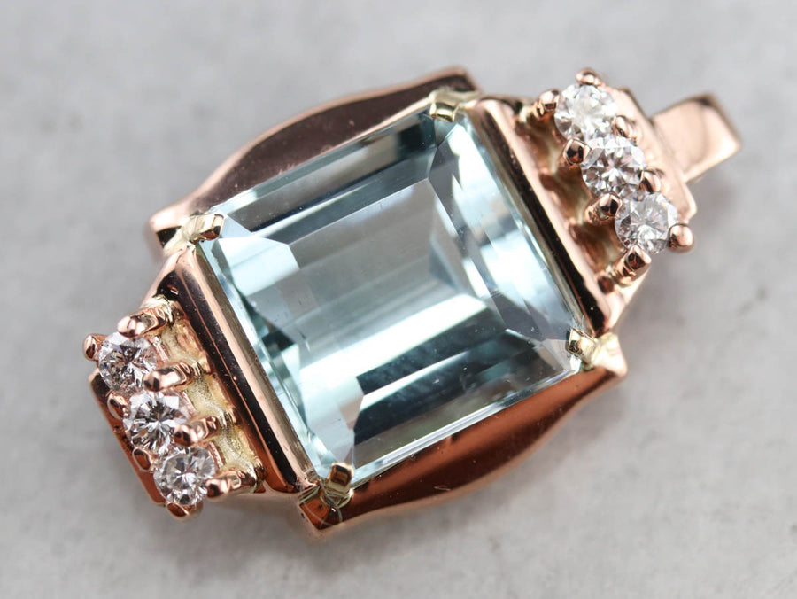 Rose Gold Aquamarine and Diamond Pendant