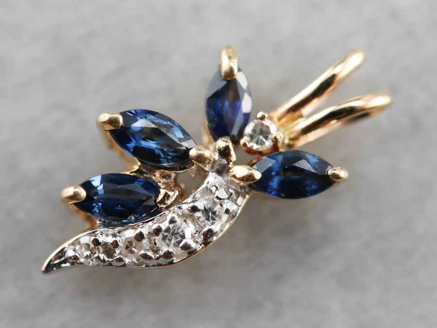 Marquise Sapphire and Diamond Pendant