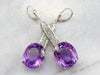Bold Amethyst Gemstone Drop Earrings