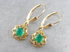 Green Onyx Gold Filigree Drop Earrings