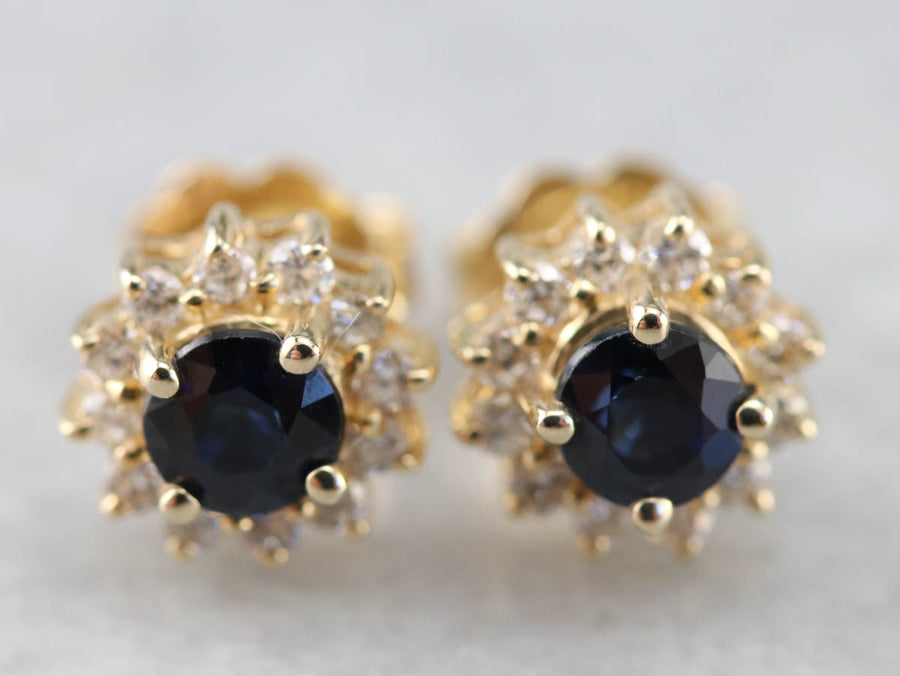 Round Sapphire and Diamond Halo Studs