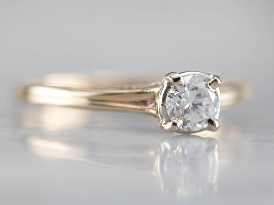Two Tone Gold Vintage Diamond Solitaire Ring