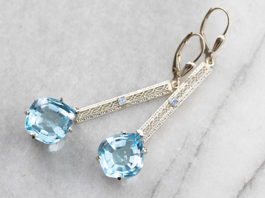 Blue Topaz and Sapphire Filigree Drop Earrings