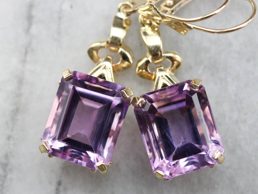 Retro Amethyst Drop Earrings