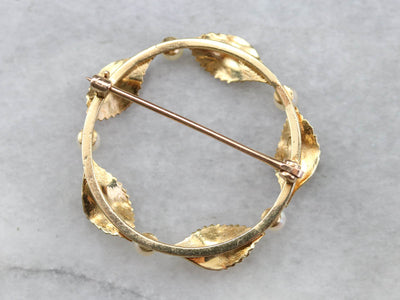 Pearl and Gold Leaf Circle Pin